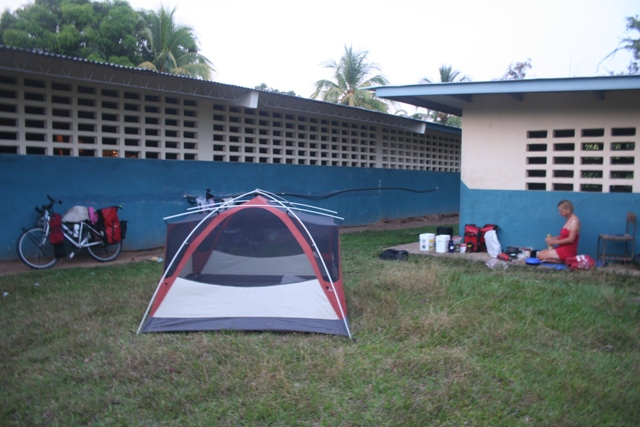 ANother great camping spot at a rural school in Panama.