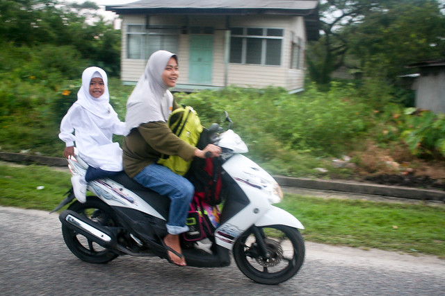 Malaysian girl on her way to school