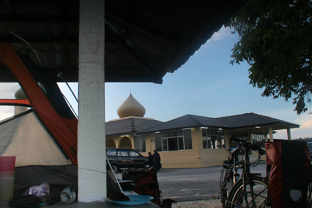 camping at a mosque in Malaysia