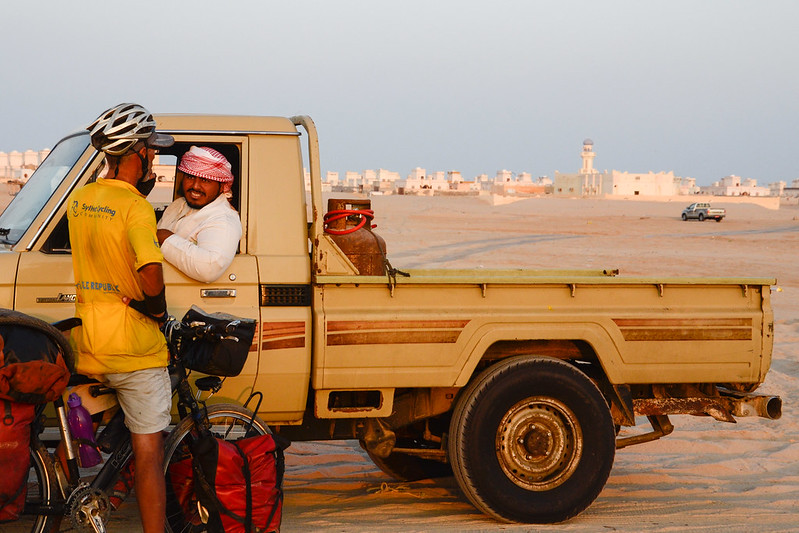 Asking directions while bicycle touring in Oman