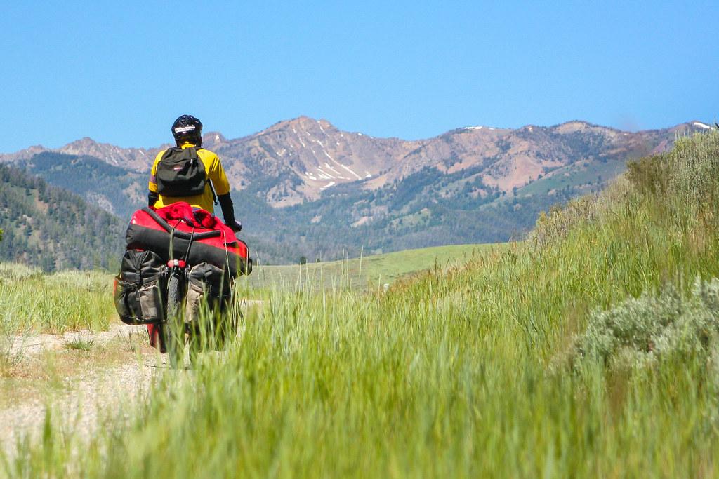 Biking the Harriman Trail near Ketchum, Idaho.